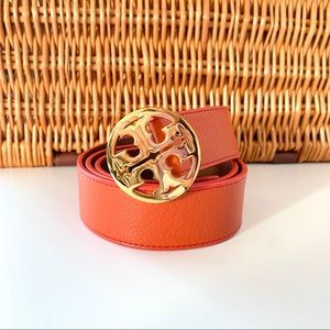 Tory Burch Orange Leather Belt Small